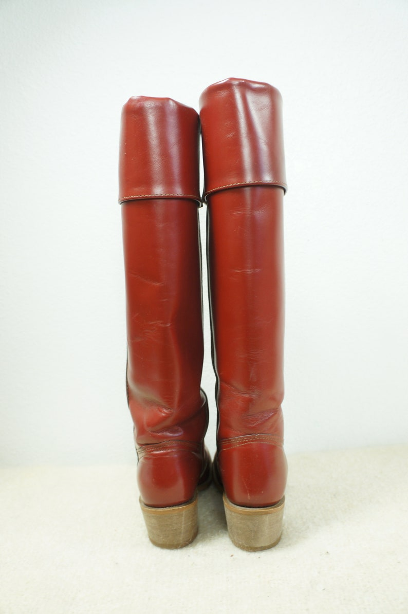 e38132d307e 70's Oxblood Vng Tall Cuffed Campus Boots - USA - Sz 8.5B - American  Classics Tall Leather Hippie Boho Festival Boots - Frye Like Boot