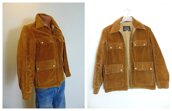 "Men's 60's Corduroy Sherpa Jacket - Chest 46"" - Ex"