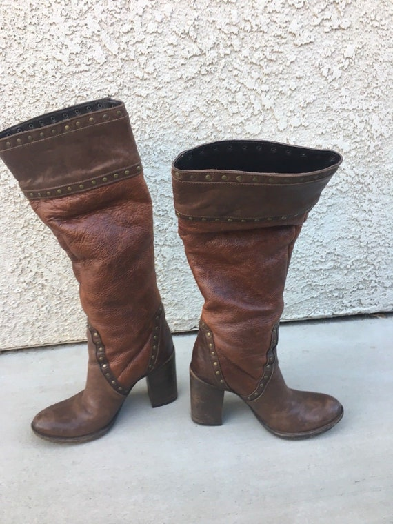 Boots Made platform 5 Vng Brown Frye 70's Platform Stacked Vng Boots Imported Boots Leather Sole Italian Awesome Size 70's Rocknroll fFIq76fw