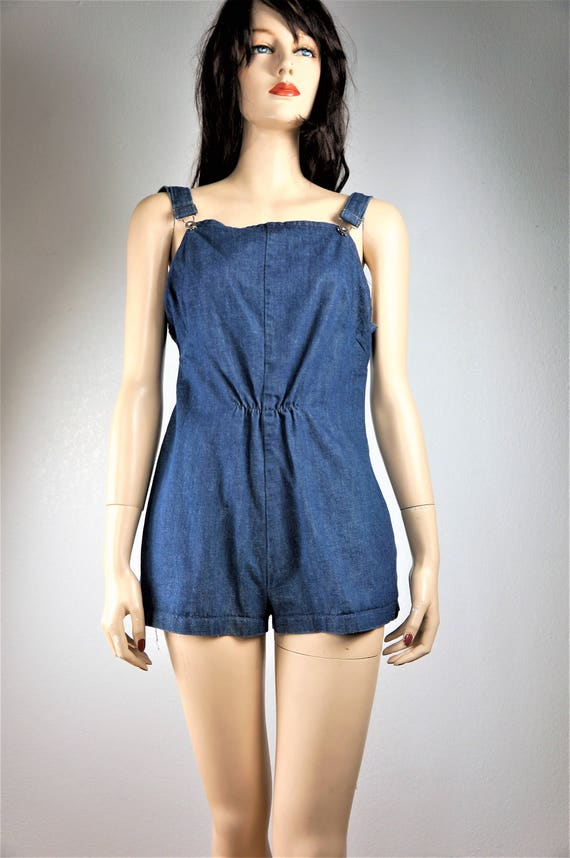 Vng 60's Denim Overall Shorts Sz Sm / 1960's Blue