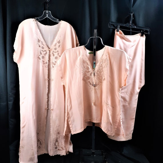 1920s 1930s 3 pc Silk Pajama Set - Art Nouveau Sil