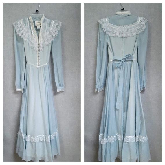 70s Gunne Sax Baby Blue Cottagecore Dress - Dead … - image 2