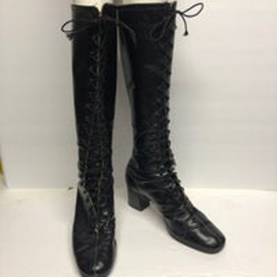 Vng 60's Knee High Leather Lace Up Boots - Penny L