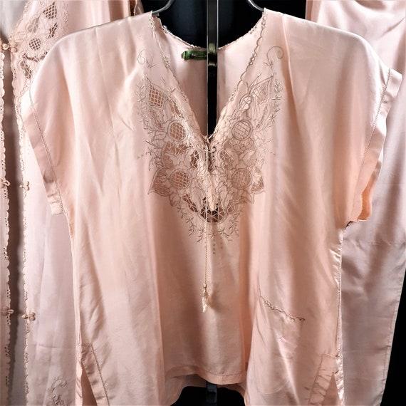 1920s 1930s 3 pc Silk Pajama Set - Art Nouveau Si… - image 2