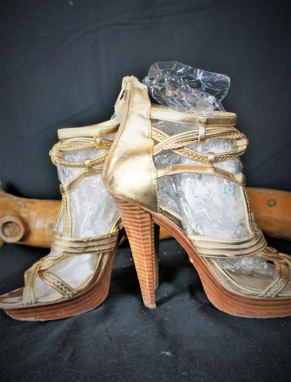 Y2K Gold Leather Platform Heels - Designer Wooden