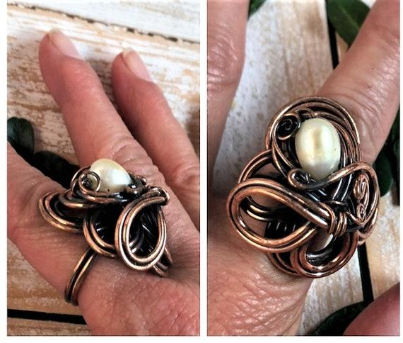 Vintage Brutalist Ring - Pearl Brutalist Copper Ri