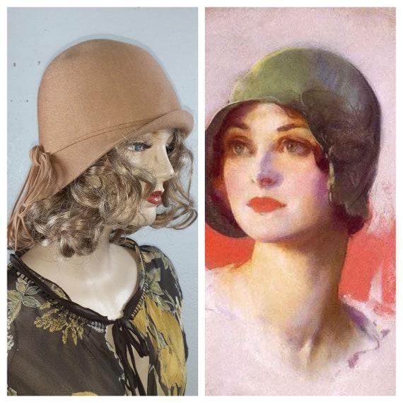 Antique 20s Wool Cloche' Flapper Hat - Authentic 1