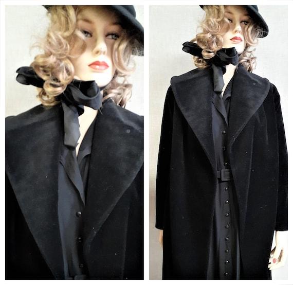 Lilli Ann Paris Black Wool Swing Coat - Early 60'… - image 2
