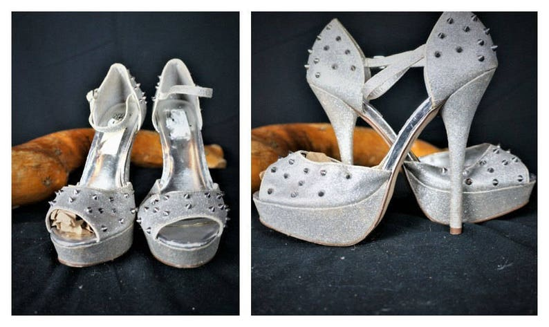 e39421601c69b Besetzt Plattform Glitzer Heels Sz 8 - Stripper Schuhe - Vng 90er Silber  Nieten Plateau Heels / Stripper Burlesque exotische Tänzerin Stiletto