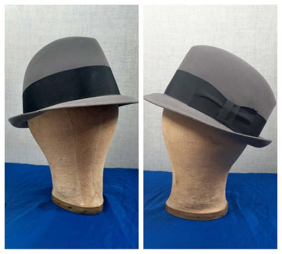 Vng 50's Grey Wool Fedora - 1950s Men's Dobbs Fedo