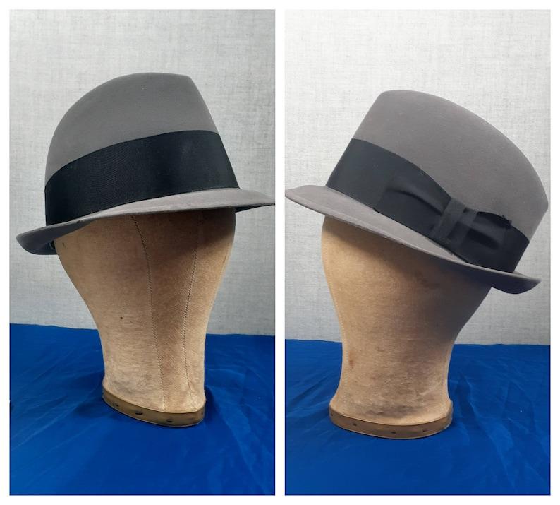 CLEARANCE 50/'s Grey Wool Fedora 1950s Men/'s Dobbs Fedora  Vintage Wool Fedora 22 18 Crown  Antique Fedora Hat