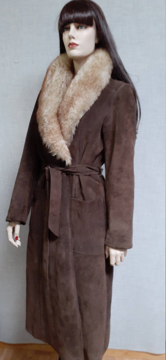 70's Almost Famous Shearling Wrap Coat - Full She… - image 6