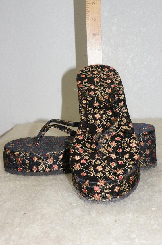 Black Black Vng Chunky Platform Silk 90s Oriental Flops Floral 8 Platform Style 8 5 Silk Sandals Shoes Sz Flip TP5Pwqarn
