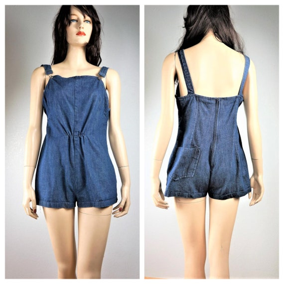 60's 70's Denim Romper -  Vintage Blue Jean Playsu