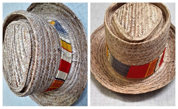 40's 50's Mens Pork Pie Straw Hat - 50's 60's Mens