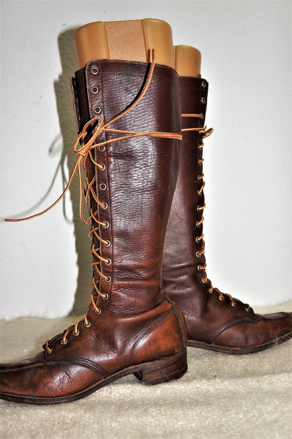 1930's Tall Lace Up Hiking Boots Womens sz 6 - Hi… - image 2