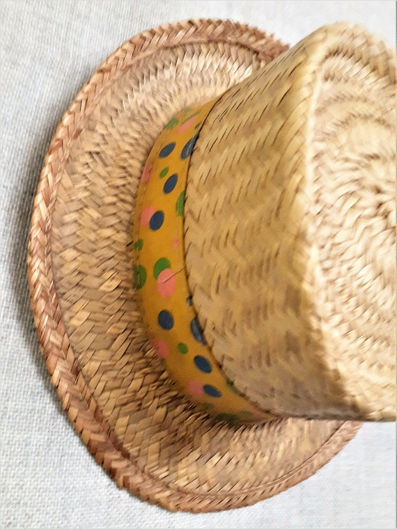 CLEARANCE - Early 60's Pork Pie Straw Mens Hat - … - image 4