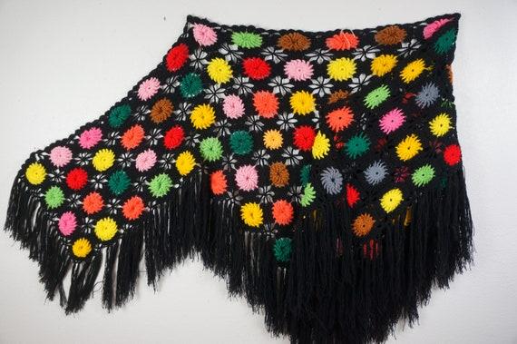Hippie Granny Square Poncho - Stevie Nicks Shawl -