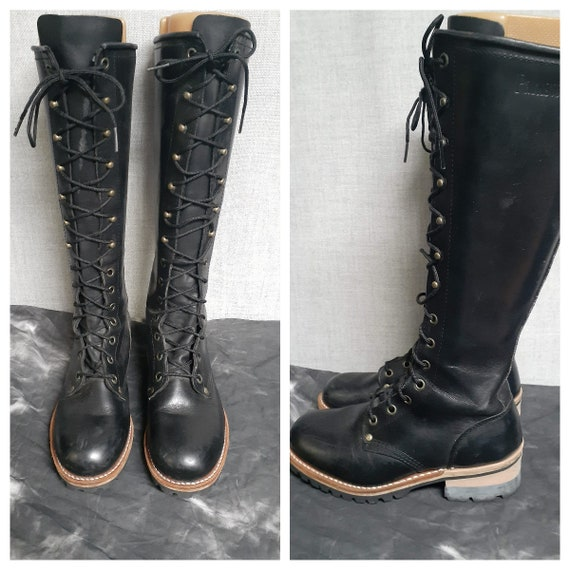 Vng Women's Tall Combat Boots - Tall Black Leather