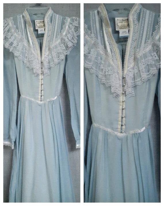 70s Gunne Sax Baby Blue Cottagecore Dress - Dead … - image 5