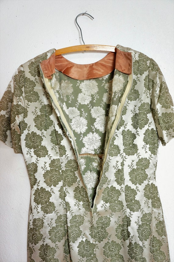 Pencil Peggy Damask Dress Dress Dress Silk Vng Vng 50s Jacquard Pin Dress Brocade Green Up Wiggle Dress Men Bombshell Sm Mad qZ8zzBwg