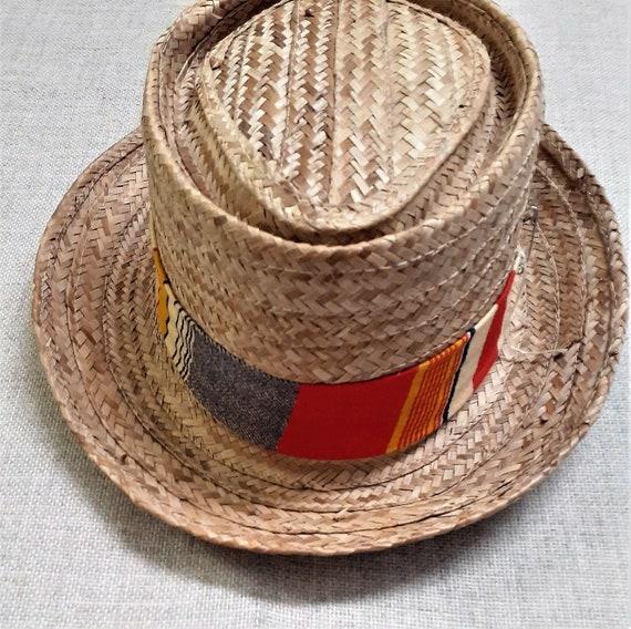 40's 50's Mens Pork Pie Straw Hat - 50's 60's Men… - image 6