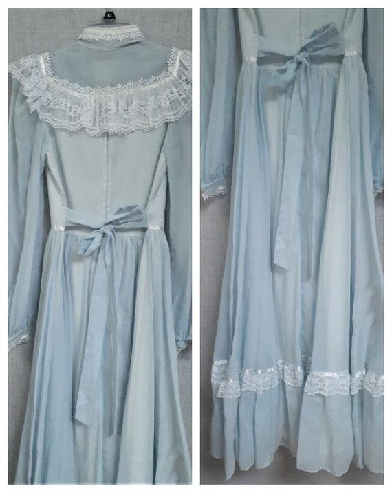 70s Gunne Sax Baby Blue Cottagecore Dress - Dead … - image 6