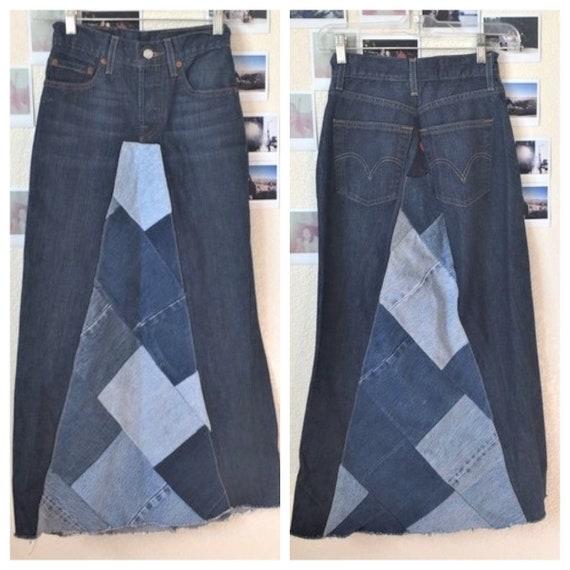 Ooak 70's Levi's 501 Patchwork Denim Midi Skirt US
