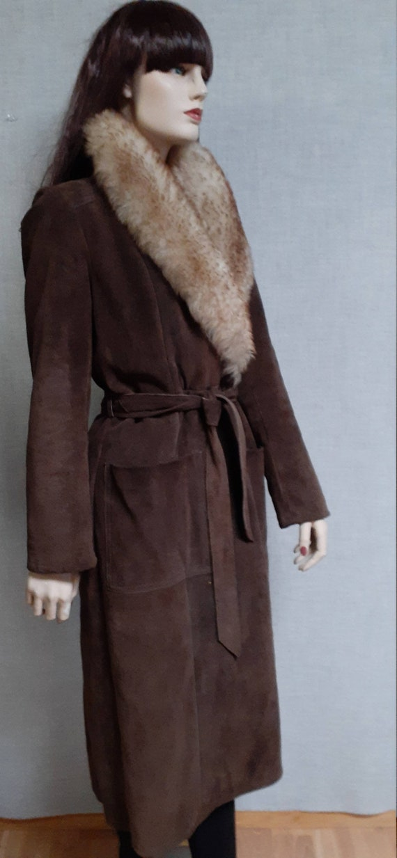 70's Almost Famous Shearling Wrap Coat - Full She… - image 5