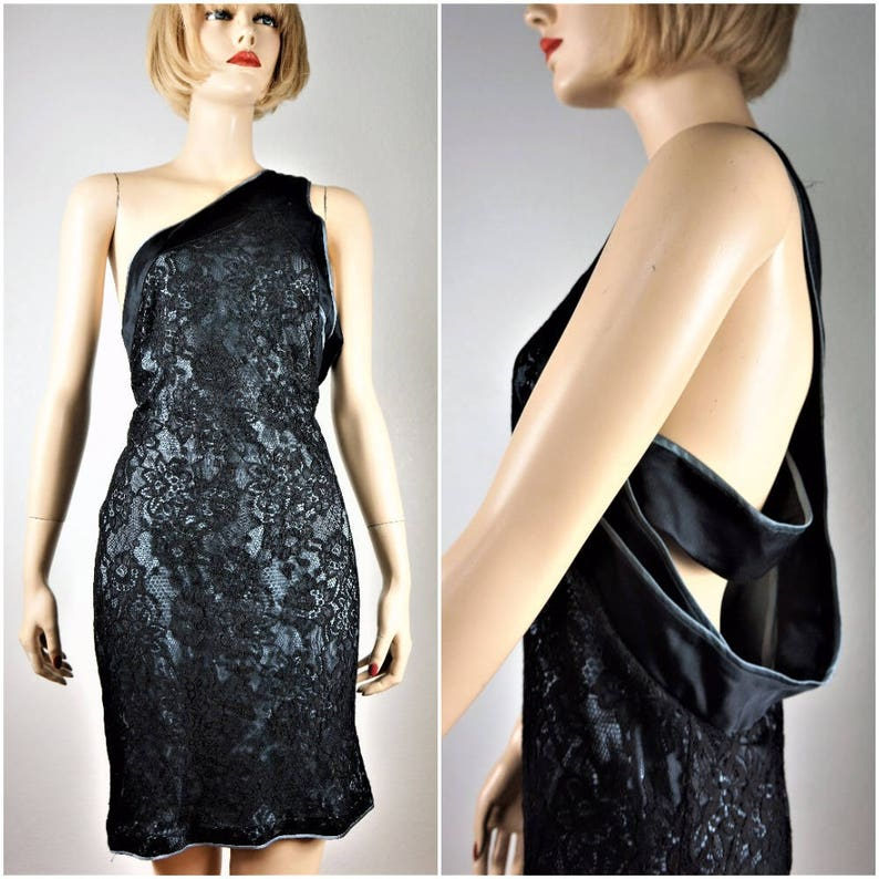 6d1ece0c6e7 Vng Gianni Versace  ITALIAN COUTURE Silk Lace One Shoulder