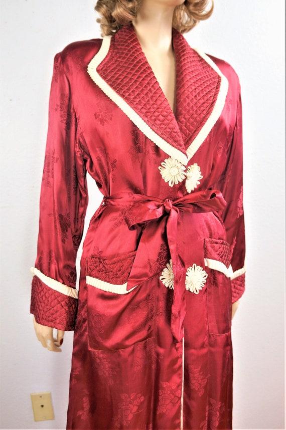 1940's Elegant Wine Robe Sz Small  / 40s Vintage … - image 7