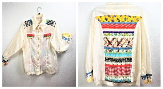 RARE 70's Sheer Cotton Gauzy Embroidered Button Do