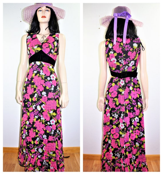 CLEARANCE 60s Psychedelic Neon Maxi Dress - Velvet