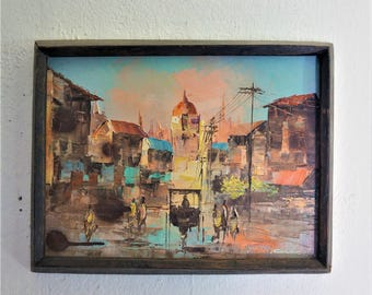 MCM Impressionist Oil on Canvas Signed Not Legible  Cobbe? / MCM Abstract Moroccan CityScape Oil Painting / Amazing small Abstract Oil 10x13