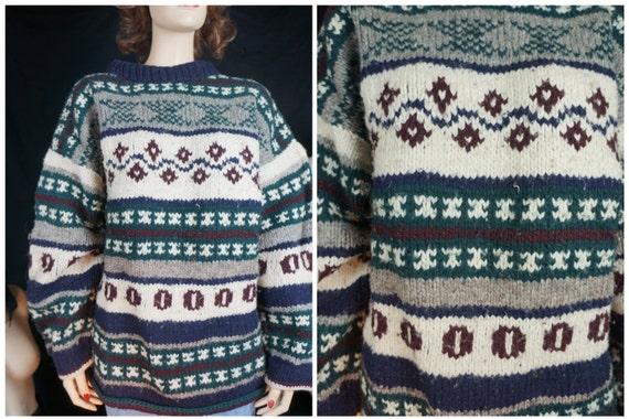 XL Wool Pure So Men's Vintage Men's Sweater L Sweater Vintage Chunky Knit American Wool Peruvian 70s Style Unisex Apre' Sz Alpaca Alpaca twwHZPzq
