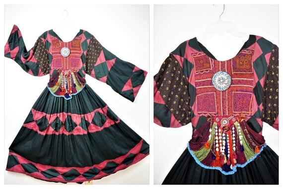 70s Authentic Afghanistan Tribal Gypsy Sz Sm / Vin