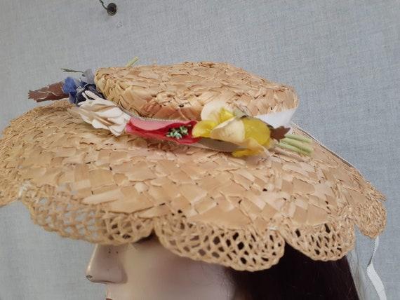 Edwardian Basket Weave Straw Tilt Hat AMAZING! 19… - image 2