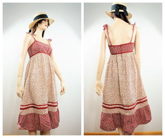 70s Boho Hippie Patchwork Sundress - Gunne Sax Sty