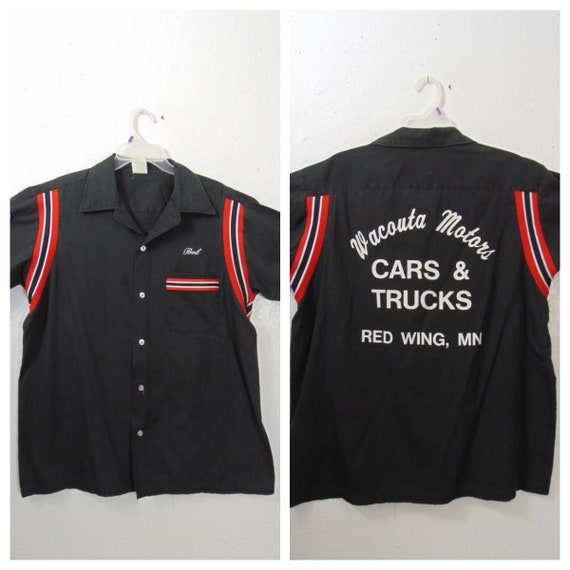 Vng Black  Bowling Shirt Sz L-XL / 70's Rockabilly