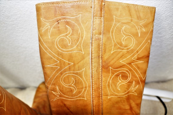 Lane Zodiac Penny Hippie Leather Head Frye Dexte Stitched Leather Boots Boot USA Embroidered 8 Boot Boho Tall Hippie Deer Tall 70s 4zxw08H0