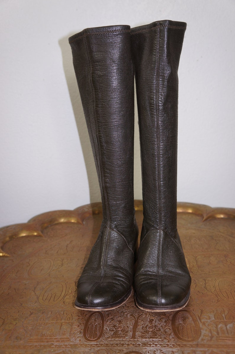 83f3dbbcc48 60's Leather Tall Boots - Brown Leather Go Go Boots Sz 7.5 - 8 - Hippie  Boots - 60's MOD knee High Boots