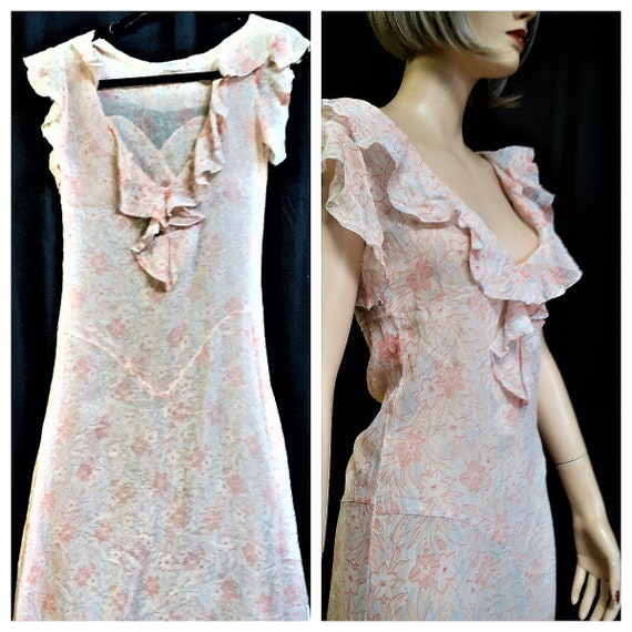 1920s Sheer Silk Chiffon Ruffle Dress - Silk Flora