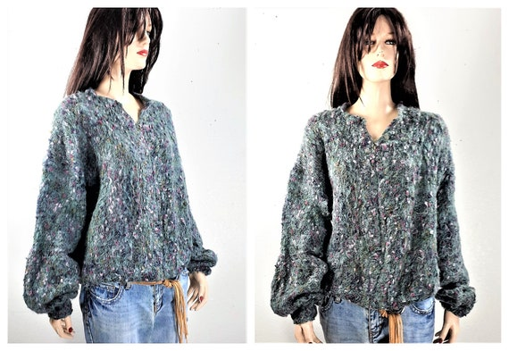70's 80's Chunky Mohair Sweater Hand Knit - Oversi