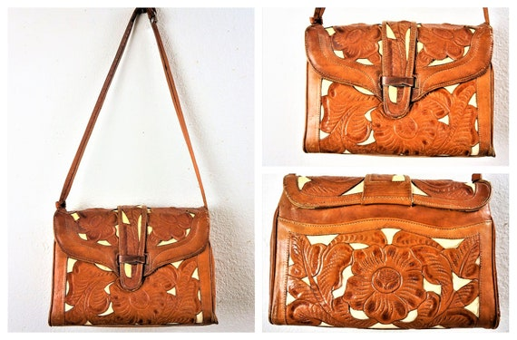 50's Mexican Tooled Leather Pony Fur Purse - Hand