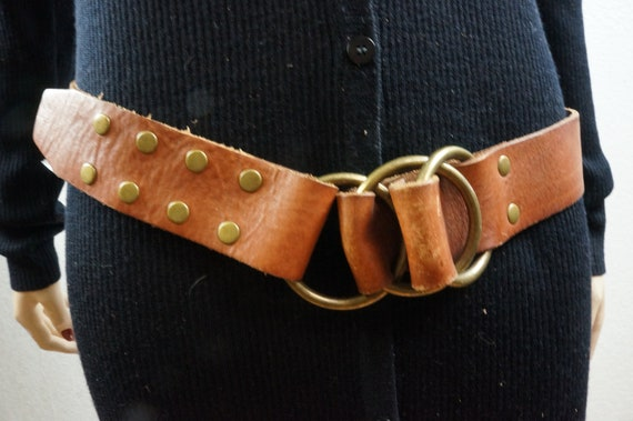 70s Harness Studded Leather Hippie Belt - Vng Leat