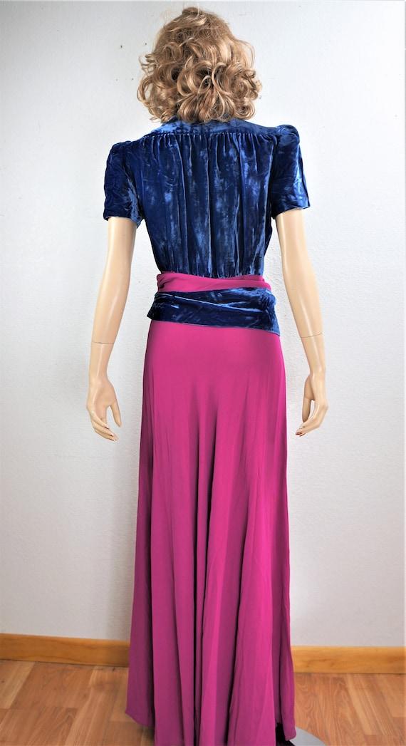 RARE 40's Velvet Crepe Gown - 30's Royal Blue Sil… - image 8