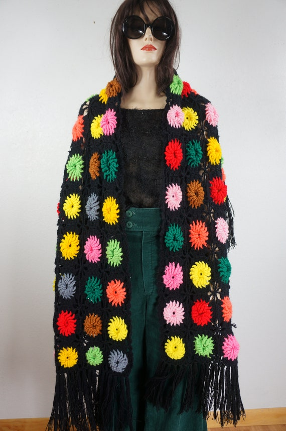 60's Granny Square Hippie Shawl  - Hippie Boho Po… - image 5