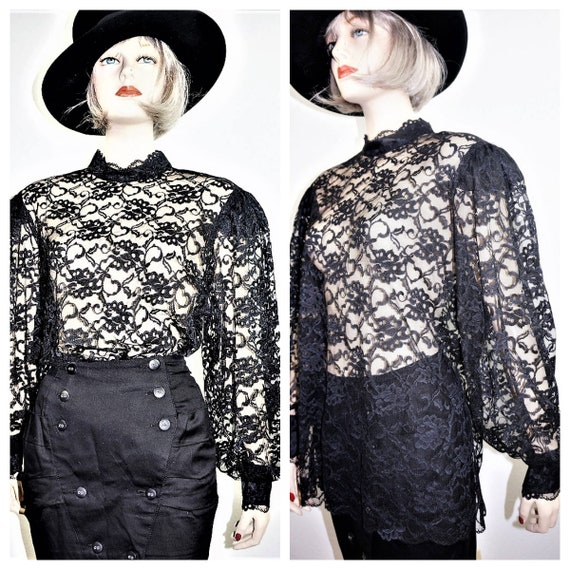 70s Sheer Gothic Edwardian Blouse M-L / 40's Style