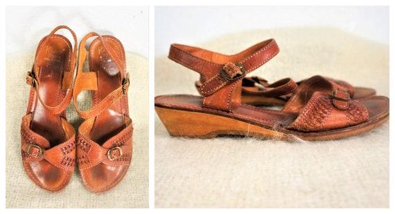 Vng 70's Wooden Platform Strappy Sandals - Kinney