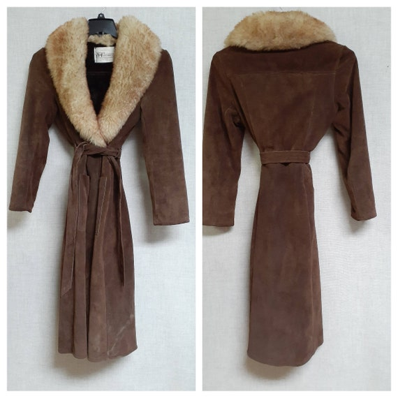 70's Almost Famous Shearling Wrap Coat - Full She… - image 2